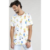 23917b9d8 Camiseta Masculina Estampada Os Simpsons Manga Curta Gola Careca Branca