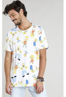 Camiseta Masculina Estampada Os Simpsons Manga Curta Gola Careca Branca
