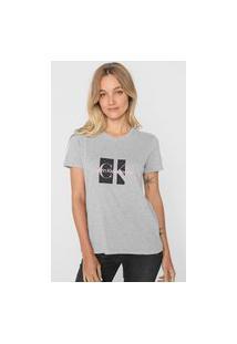 Camiseta Calvin Klein Jeans Lettering Cinza