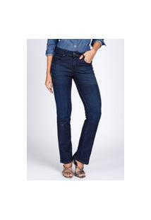 Calça Jeans Bloom Moletom Reta Bootcut Clássica Escura