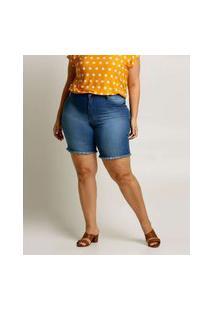 Bermuda Plus Size Feminina Jeans Barra Desfiada Biotipo