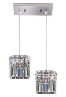 Pendente Quadrado Llum De Aço Para 2 Lâmpadas Cabo Ajustável De 1M Cristal Paris