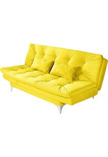 Sofá-Cama 3 Lugares Versátil Veludo Liso Amarelo 1/1 - Império Estofados