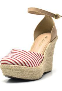 Sandália Anabela Salto Alto Em Tecido Listrado Branco E Vermelho - Kanui