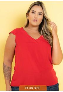 Blusa Viscose Stella Fru-Fru Vermelho Plus Size