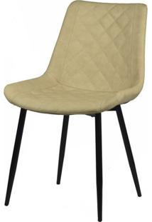 Cadeira Canti Estofada Corino Nude Com Base Preta - 58172 - Sun House