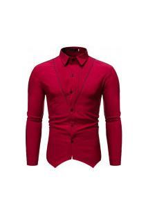 Camisa Masculina Gola Mandarim - Vermelha