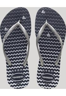 Chinelo Feminino Havaianas Slim Estampado Navy Azul Marinho