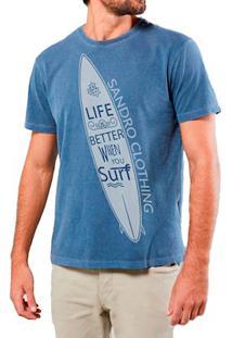 Camiseta Masculina Sandro Clothing Life Surf Azul Estonada