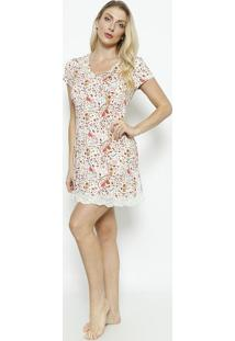 Camisola Floral Com Renda- Off White & Marrom Claro-Daniela Tombini