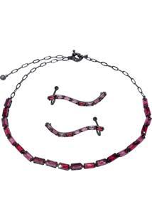 Conjunto Infine Choker E Brincos Ear Cuff Cristal Rubi Vermelho - Vermelho - Feminino - Dafiti
