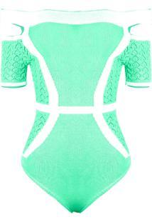 Body Outlet Dri Tricot Modal Ombro A Ombro Ciganinha Detalhe Fenda Verde Claro