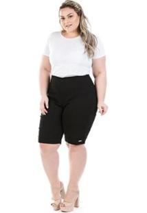 Bermuda Jeans Plus Size Com Elastano E Zíper Lateral Feminina - Feminino-Preto