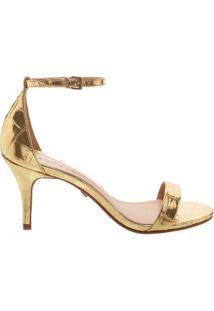 Sandália Gisele Kitten Heel Golden Croco | Schutz
