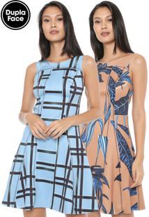 Vestido Forum Curto Dupla Face Azul/Caramelo