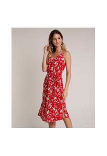 Vestido Feminino Midi Estampado Floral Com Fenda Alças Finas