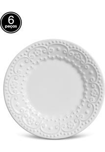 Conjunto 6Pçs Prato Sobremesa 20Cm Flat Fraise Branco.