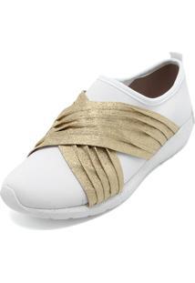 Tênis Petite Jolie Detalhe Branco/Dourado