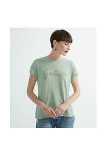 Blusa Manga Curta Com Bordado Escrito Gentileza | Marfinno | Verde | G