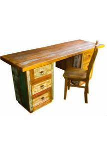 Escrivaninha Rústica Eve Com Cadeira Em Madeira De Demolição