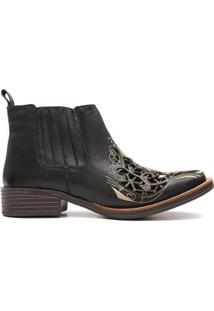 Bota Elite Country Clyde Bordado Feminina - Feminino-Preto