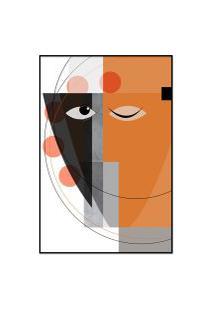 Quadro 75X50Cm Abstrato Geométrico Oriental Masuku Moldura Preta Com Vidro