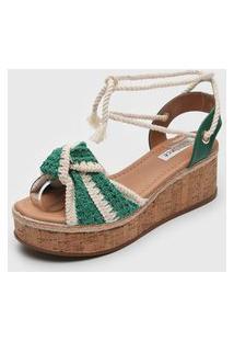Sandália Bebecê Tricot Verde/Off-White
