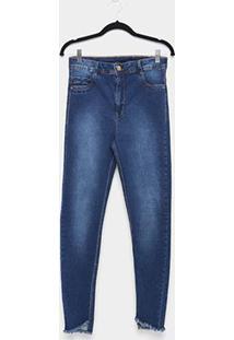 Calça Jeans Skinny Sawary Estonada Barra Desfiada Plus Size Feminina - Feminino-Azul