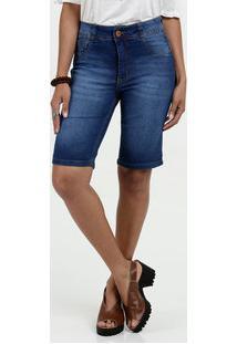 Bermuda Feminina Jeans Cintura Alta Biotipo