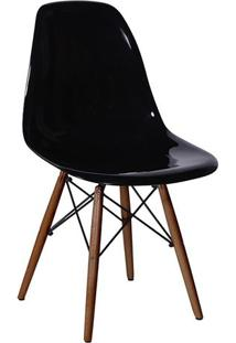 Cadeira Eames Dkr- Preta & Madeira Escura- 80,5X46,5Or Design