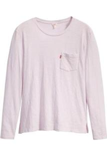 Camiseta Levis Feminina Perfect Long Sleeve Crew Pocket Roxa - Feminino-Roxo