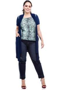 Maxi Colete Melinde Plus Size Feminina - Feminino-Azul Escuro