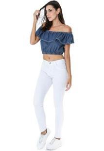 Blusa Ciganinha Jeans Vizzy - Feminino