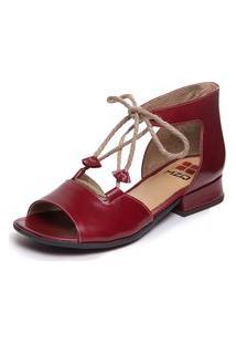 Sandalia Feminina Baixa Vermelha Mary Jane - Amora 7733