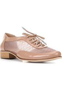 Oxford Couro Shoestock Tela Bordada Feminino - Feminino-Nude