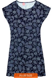 Vestido Azul Marinho Curto Paisley