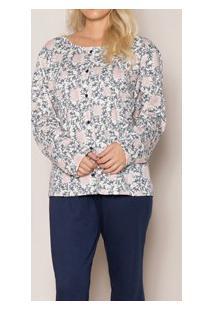 Pijama Longo Aberto Moletinho Floral Pzama (50002)