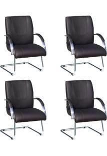 Conjunto De 4 Cadeira De Escritório Master Fixa Preto