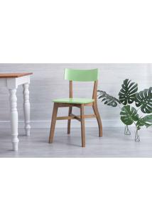 Cadeira Para Mesa De Jantar Bella Amêndoa E Verde Sálvia 44X51X82 Cm