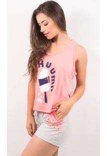 Pijama Short Doll Feminino Tal Mãe - Feminino-Coral