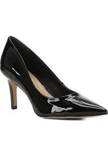 Scarpin Shoestock Verniz Salto Médio - Feminino-Preto