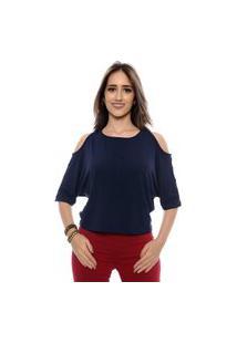 Blusa Ombro Vazado Cibele B'Bonnie Azul Marinho