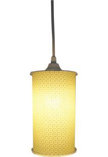 Luminária Pendente Cilíndrica Crie Casa Arabesco Amarelo