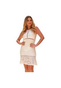 Vestido Boutelle Renda Tubinho Branco Festa Casamento