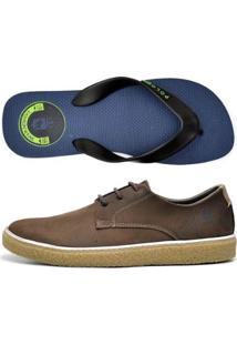 Kit Sapatênis +Chinelo Top Franca Shoes Masculino - Masculino-Marrom