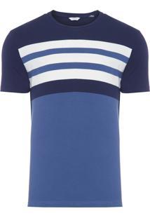 Camiseta Masculina Regular Listrada - Azul