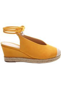 Sandália Anabela Nobuck Yellow | Schutz