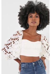 Blusa Cropped Open Style Laise Branco