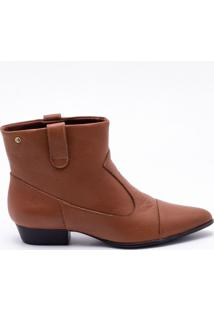 Ankle Boot Couro Camel