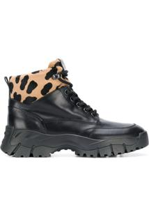 Tod'S Leopard Print Ankle Boots - Preto